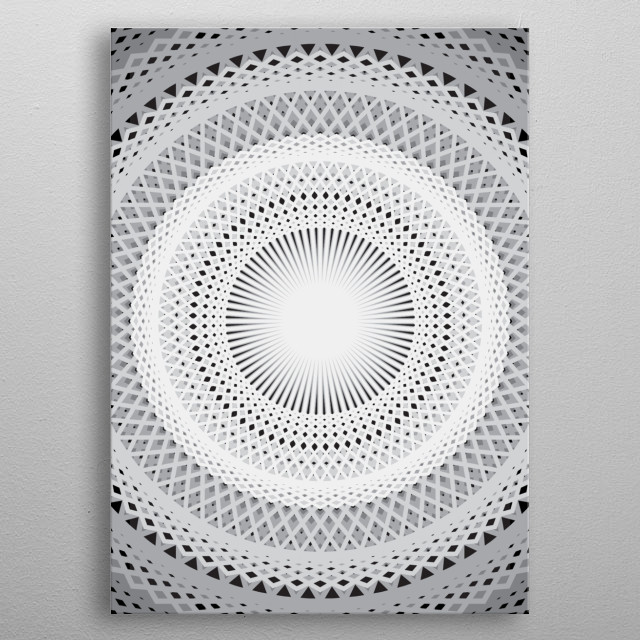 Black Gray White Lines metal poster