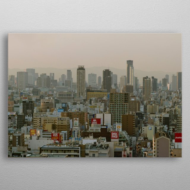 High resolution panorama of OSAKA city in Kansai Japan view from above. Details of Den Den town quarter metal poster