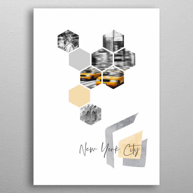 Cityscapes in geometric shapes showcase perfectly each single moment. Discover Times Square traffic, Statue of Liberty and Brooklyn Bridge. metal poster