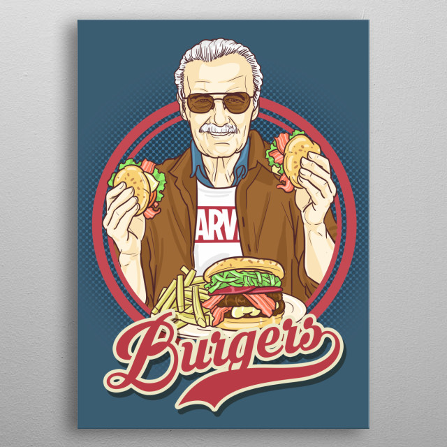 illustration based from vintage posters. This one features Stan Lee Elvis presenting some Burgers.   metal poster