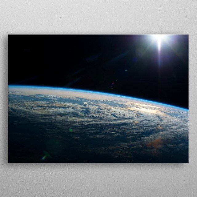 Earth from orbit in space taken by Expedition 44. (High Res) - outer space solar system night lights orbital view metal poster