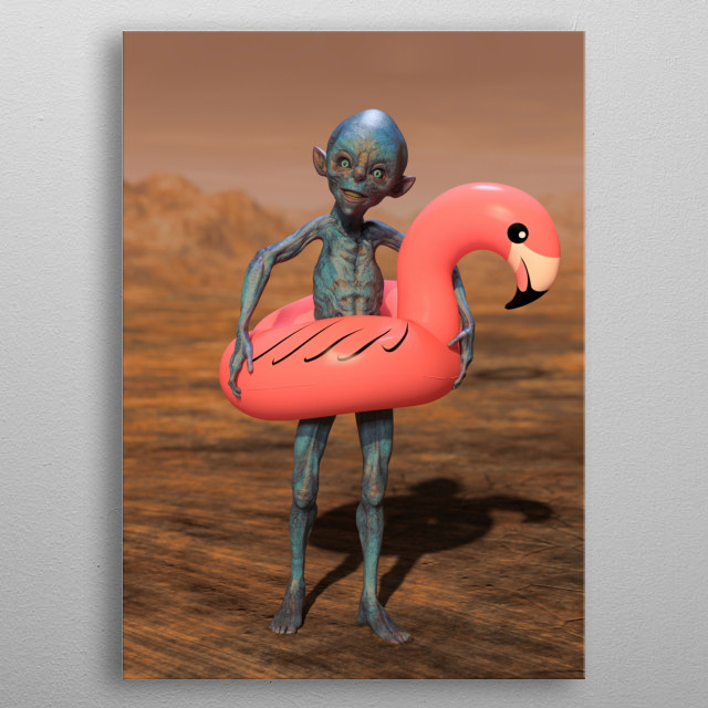 Alien with Pink Float Looking for Water on Mars metal poster