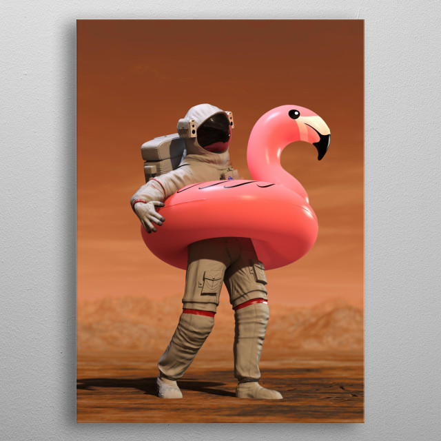 Astronaut with Pink Float Looking for Water on Mars - 3D illustration metal poster