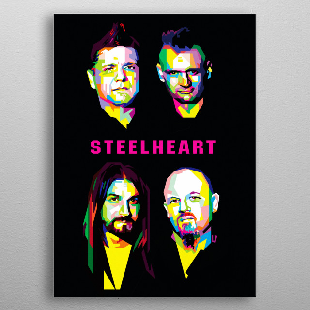 wpap popart portrait of steelheart,  a rock band based in Norwalk, Connecticut, United States, formed in 1990 metal poster