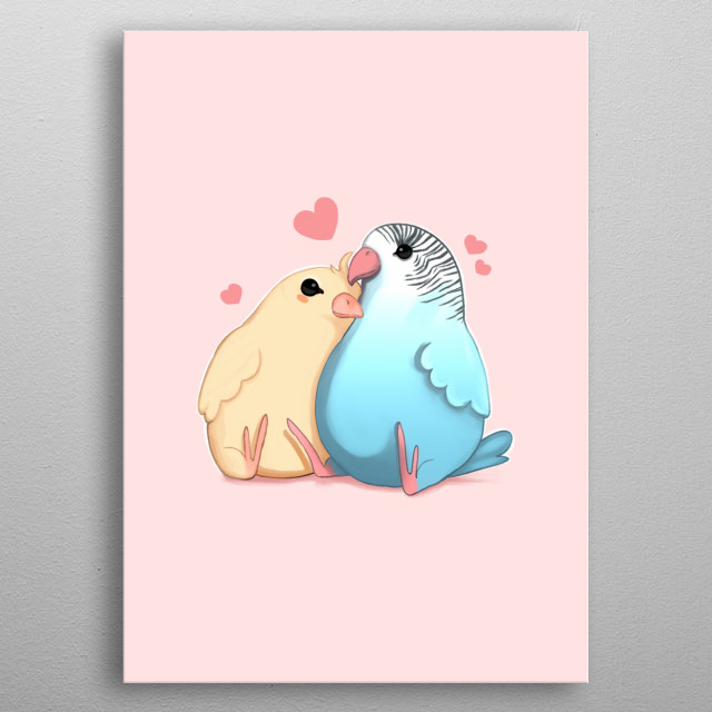 Illustration of two parrots. metal poster