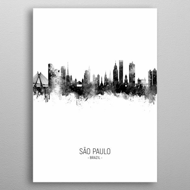 Watercolor art print of the skyline of São Paulo, Brazil metal poster