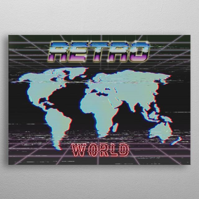 Retro map metal poster