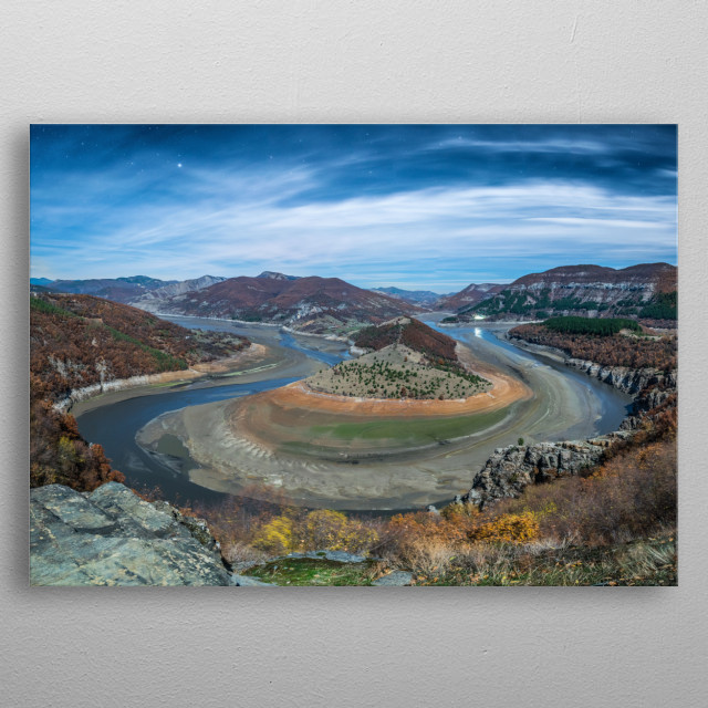 Night photography of the famous curve of Arda river at dam Kardjali. metal poster