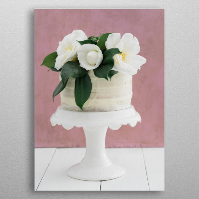 Naked buttercream layer wedding cake decorated with camellias metal poster
