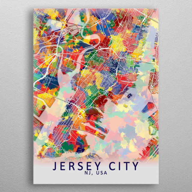 Jersey City USA City Map metal poster