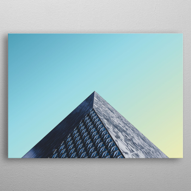 Sharp corners of a building aligned in a minimal way against a bright bright sky. Lovely Minimalistic Scape! metal poster