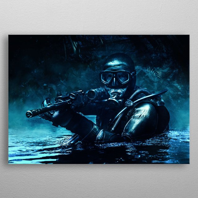 Combat diver of special forces operations unit frogmen comes up in jungle in diving gear. Dark night, moonlight, diversionary operation with metal poster