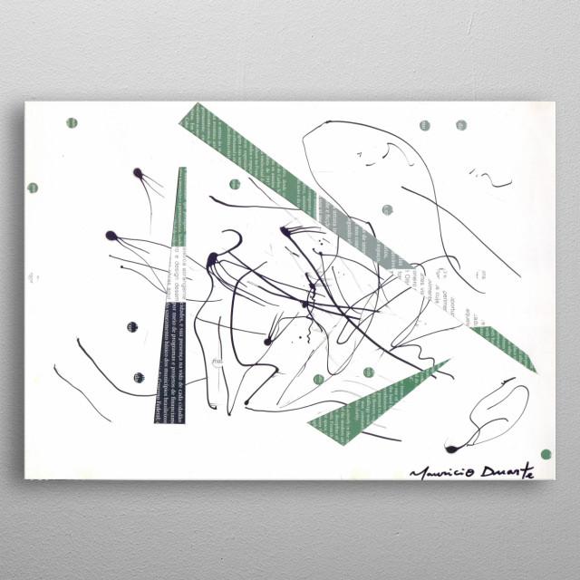 Neo Expressionismo Abstrato Nanquim e colagem s/ papel 21 x 29,7 cm 2018 Mauricio Duarte (Divyam Anuragi) metal poster