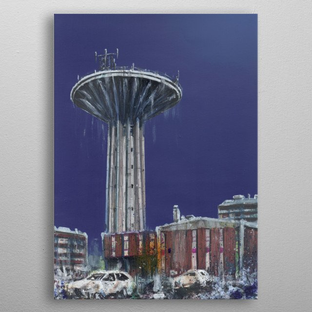 Piezometric tower with whale shark, Turin, mixed media 2. Torre piezometrica con squalo balena, Torino, tecniche miste 2.  metal poster