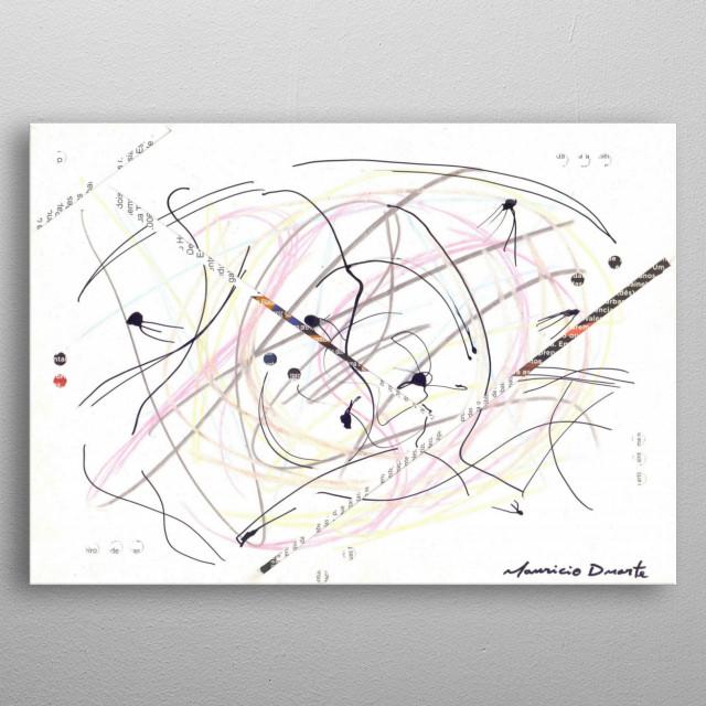 Neo Expressionismo Abstrato Nanquim, lápis de cor e colagem s/ papel 21 x 29,7 cm 2018 Mauricio Duarte (Divyam Anuragi) metal poster