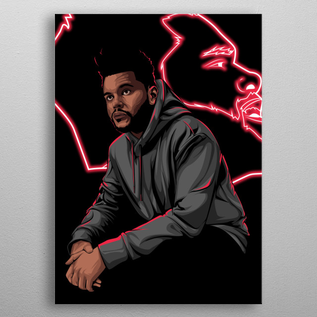 An illustration of Starboy himself, The Weeknd, most famous for his songs like Earned It, The Hills and Party Monster.  metal poster