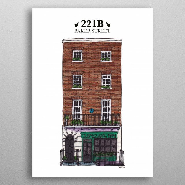 Hand drawn watercolor urban sketch of Sherlock Holmes's house on 221B Baker Street, London. metal poster