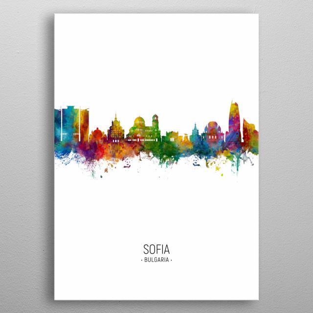 Watercolor art print of the skyline of Sofia, Bulgaria metal poster