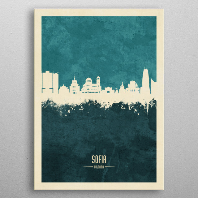 Watercolor art print of the skyline of Sofia, Bulgaria metal poster