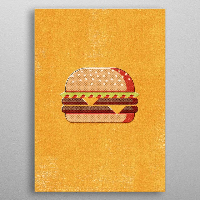 Part of a series of minimal retro illustrations of various fast foods. The graphic style is inspired by vintage matchbox label designs. metal poster
