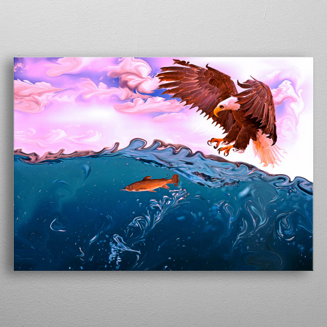 Falcons of big and strong birds Why if the fish wants and did not search for bigger food. metal poster