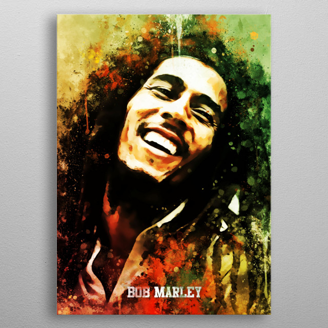 Bob Marley was a Jamaican singer-songwriter who became an international musical and cultural icon, blending mostly reggae ska and rocksteady metal poster