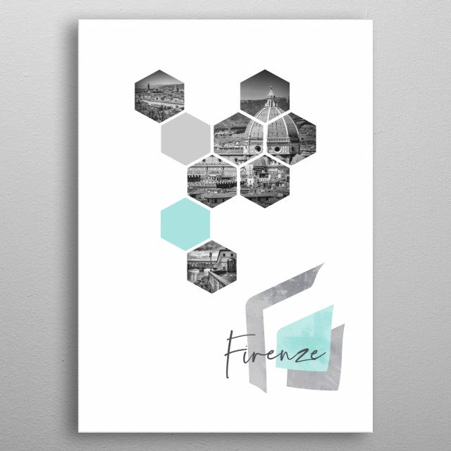 Cityscapes in geometric shapes showcase perfectly each single moment. Discover the view of the city with Cathedral and bridge Ponte Vecchio. metal poster