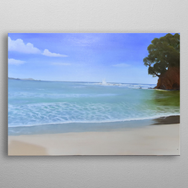 """Original seascape painting, """"Face in the Cliff"""", Omaha Beach, New Zealand metal poster"""