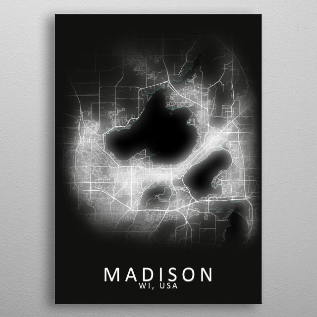 Madison WI USA City Map metal poster