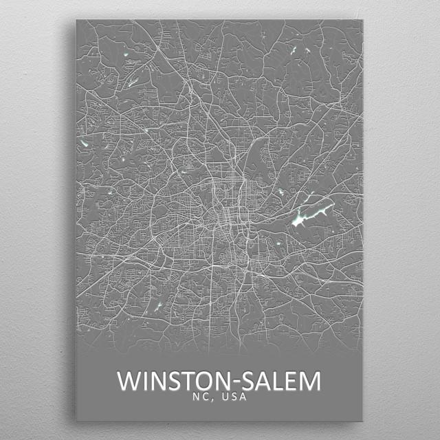 Winston-Salem USA City Map metal poster
