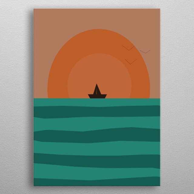 Illustration sunset in the sea metal poster