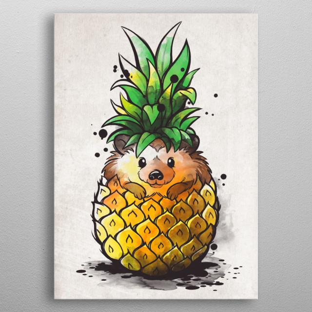 summer tropical fruit hedgehog metal poster