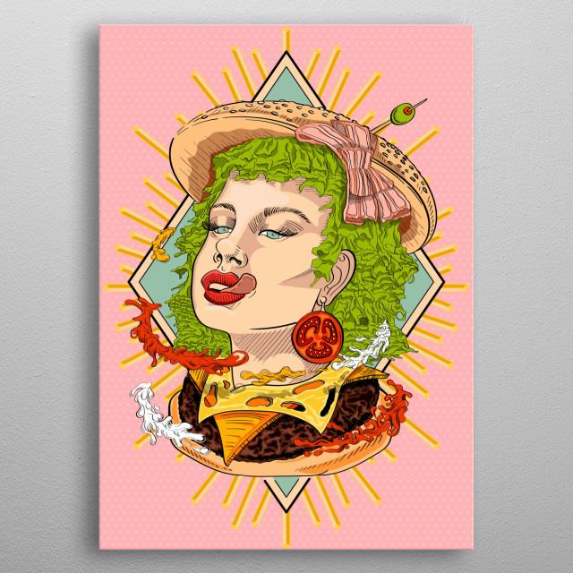 loving girls & food metal poster