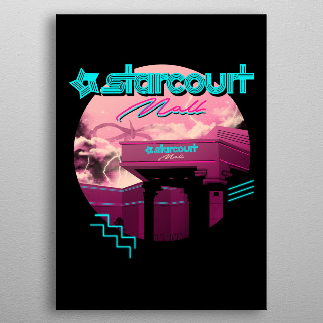 A popular retro mall from the 80's with a strange creature lurking at the background in 80's synth wave colors. metal poster