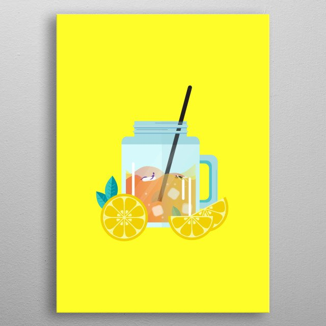 Illustration of the iced lemon tea inspired by my favorite drink when i'm in cafe. metal poster