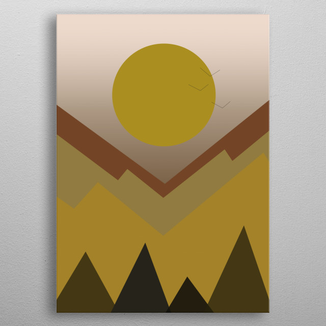 Illustration of sunset in the mountain in the autumn metal poster