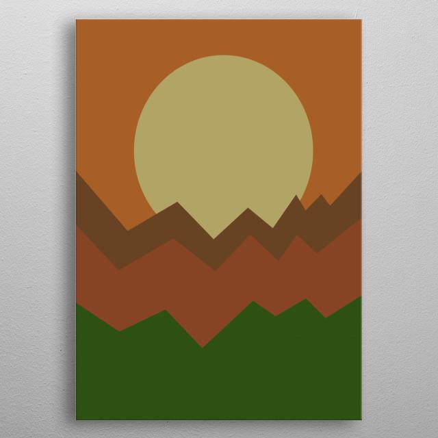Illustration of autumn sunset in mountain metal poster