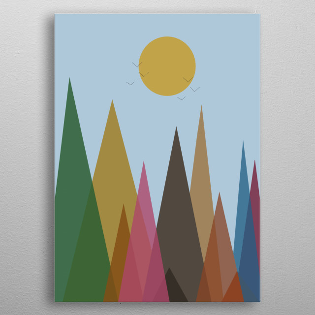 Illustration of mountain landscape metal poster