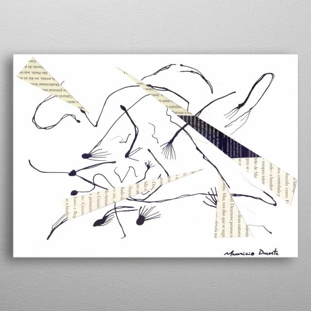 Neo Expressionismo Abstrato Namquim e colagem s/ papel 21 x 29,7 cm 2018 Mauricio Duarte (Divyam Anuragi) metal poster