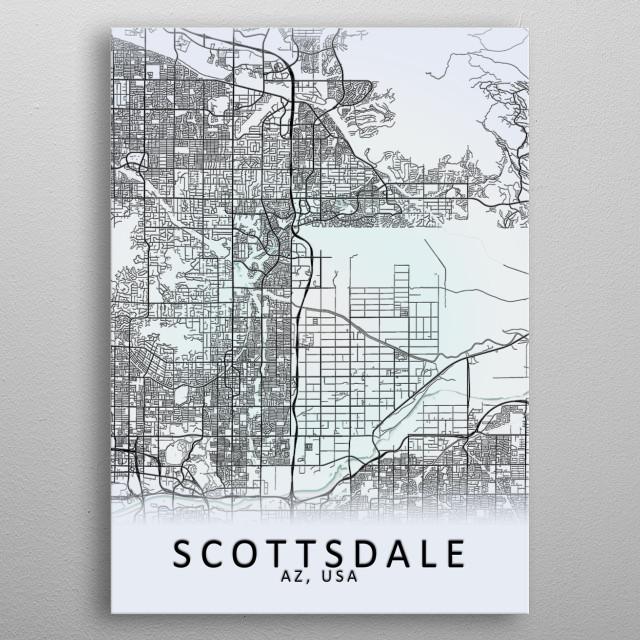 Scottsdale AZ USA City Map metal poster