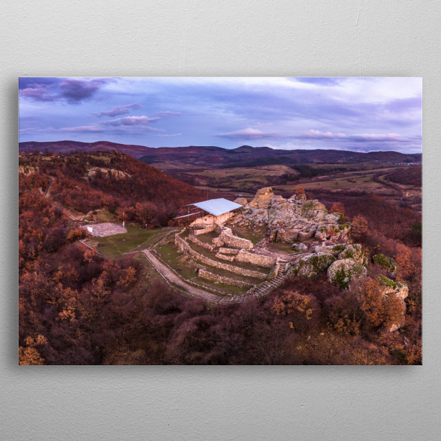 Aerial photography of sunset over Thracian sanctuary Tatul. metal poster