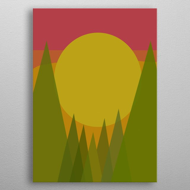 Illustration of sunset in the mountain metal poster