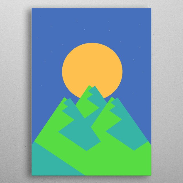 Illustration of full moon over the peaks in the mountain metal poster