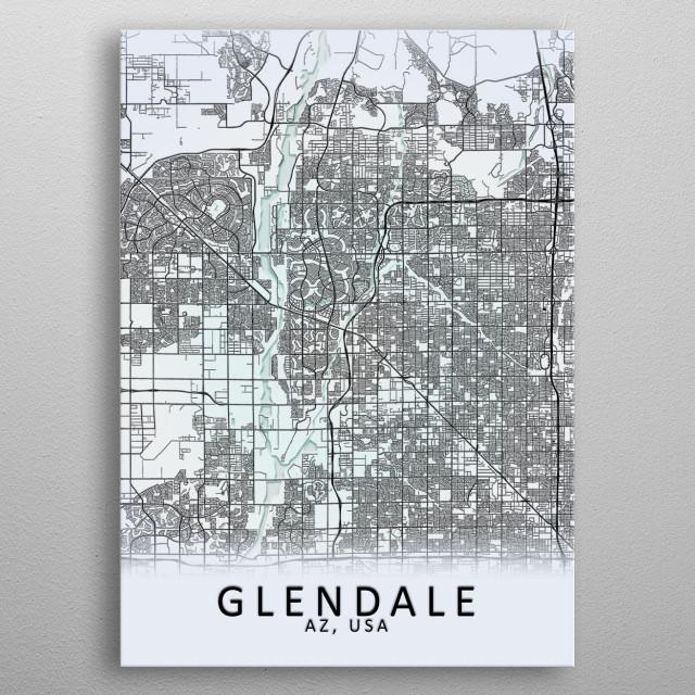 Glendale AZ USA City Map metal poster