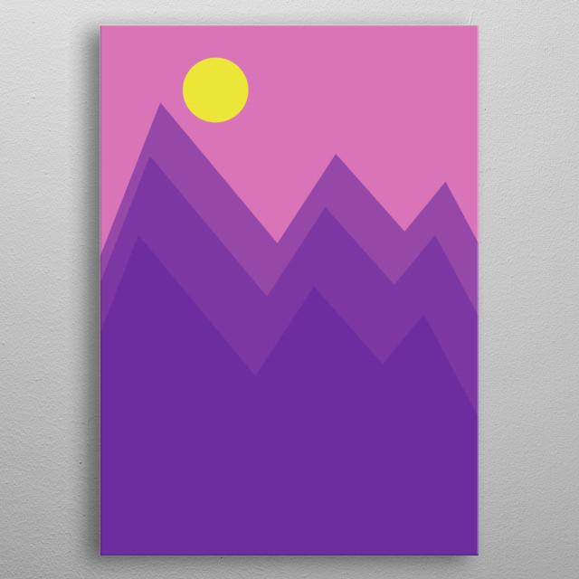 Illustration of landscape of purple peaks metal poster