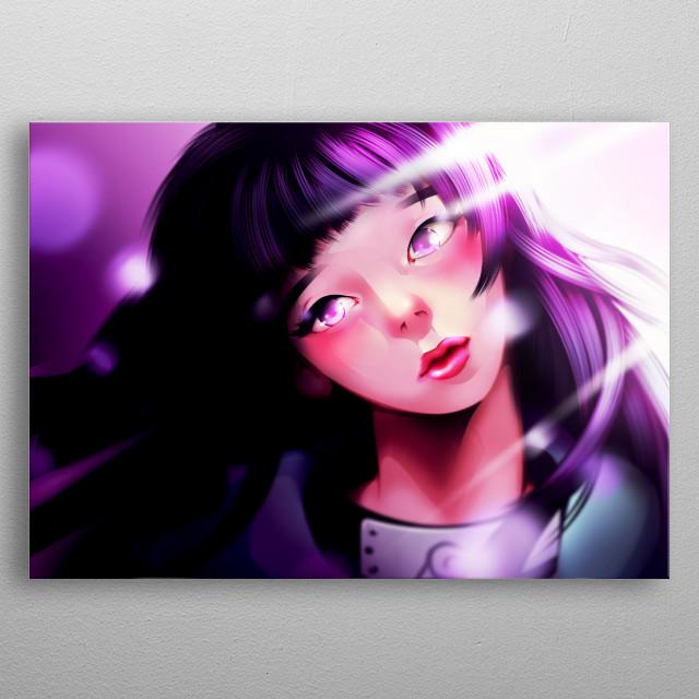 illustration fan art of hinata hyuga from Naruto anime. metal poster