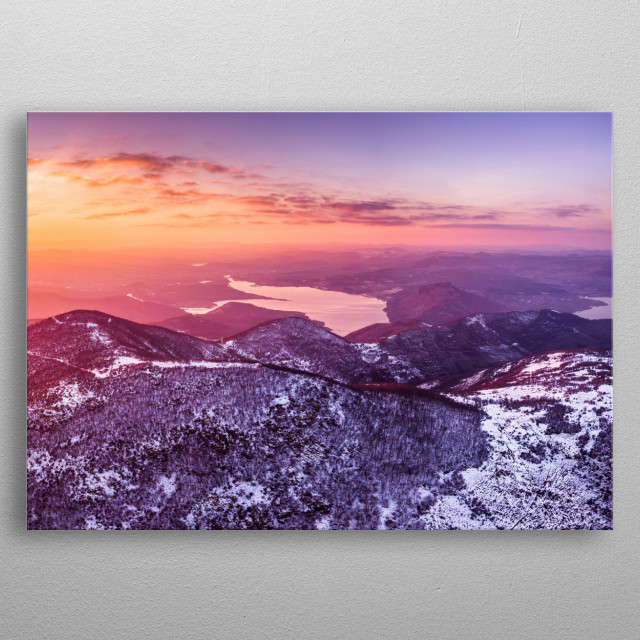 Aerial photography over Rodopi mountain. Please note that this is a part II of two part design. metal poster