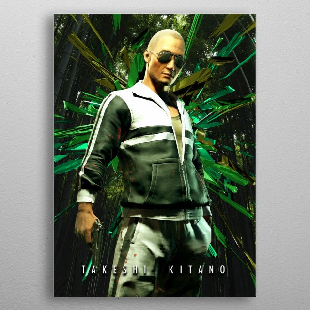 Takeshi Kitano as teacher and ex militar from the cult classic japan movie battle royale as a skin from fortnite the game. metal poster