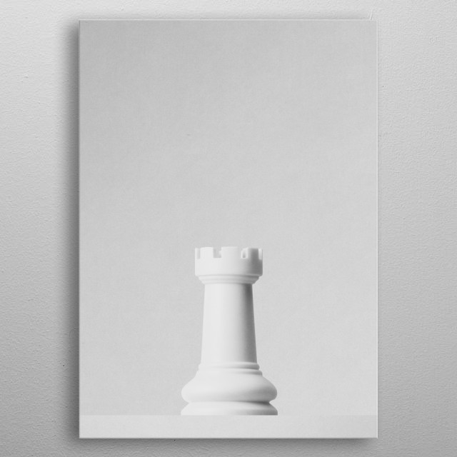 A white rook a chess game in front of a white background. Part of a series of minimalist photographs of chess pieces. metal poster