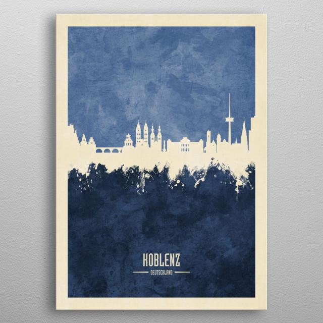 Watercolor art print of the skyline of Koblenz, Germany metal poster